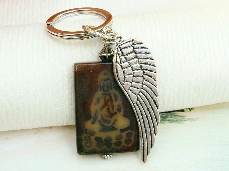 - Schlüsselanhänger Buddha Flügel Achat Edelstein - Schlüsselanhänger Buddha Flügel Achat Edelstein