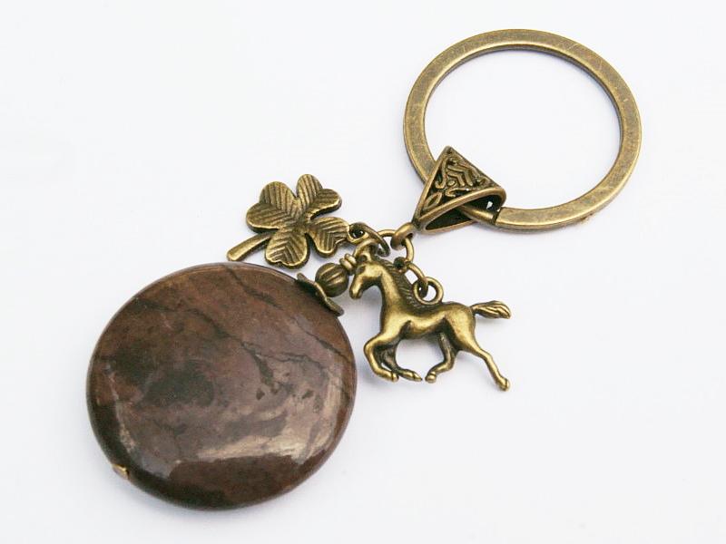 Kleinesbild - Schlüsselanhänger Pferd Klee Glücksbringer bronzefarben Edelstein Jaspis braun