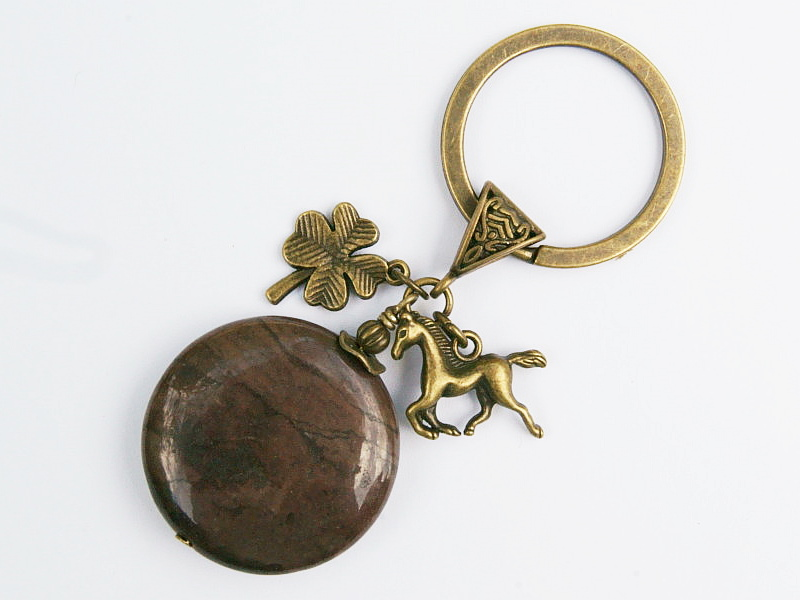 - Schlüsselanhänger Pferd Klee Glücksbringer bronzefarben Edelstein Jaspis braun - Schlüsselanhänger Pferd Klee Glücksbringer bronzefarben Edelstein Jaspis braun