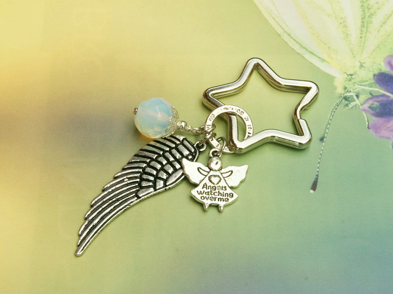 - Schlüsselanhänger Glücksbringer Engel Flügel Mondstein - Schlüsselanhänger Glücksbringer Engel Flügel Mondstein