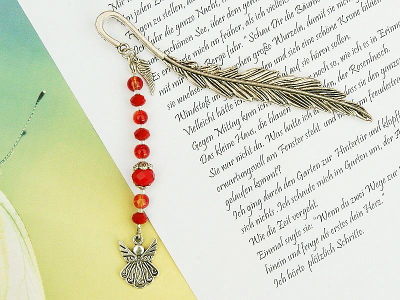 Kleinesbild - Lesezeichen Engel Flügel Engelsflügel Glücksbringer Metall rot orange