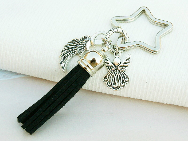 Kleinesbild - Schlüsselanhänger Taschenanhänger Glücksbringer Engel Flügel Engelsflügel Quaste schwarz