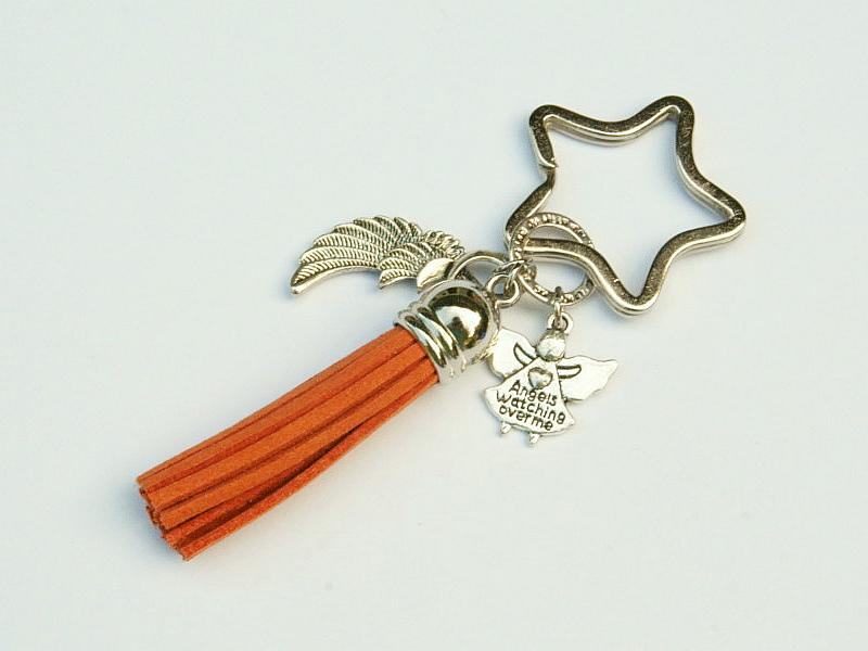 Kleinesbild - Schlüsselanhänger Taschenanhänger Glücksbringer Engel Flügel Engelsflügel Quaste orange