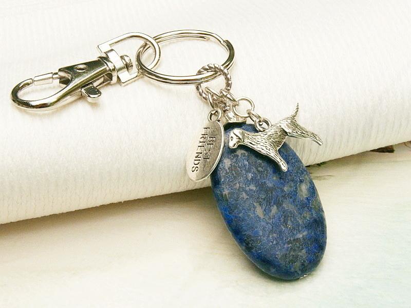 - Schlüsselanhänger Hund dein bester Freund Lapislazuli blau  - Schlüsselanhänger Hund dein bester Freund Lapislazuli blau