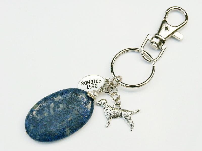 Kleinesbild - Schlüsselanhänger Hund dein bester Freund Lapislazuli blau