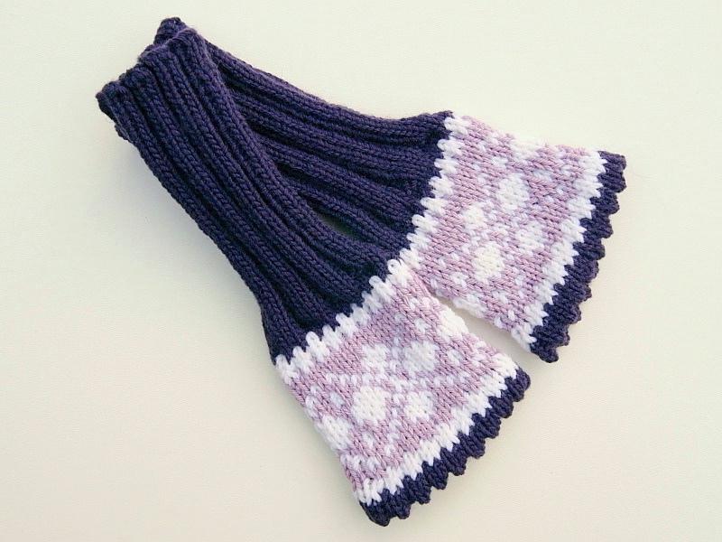 Kleinesbild - Armstulpen aubergine flieder weiß Wollemischung handgestrickt Norweger