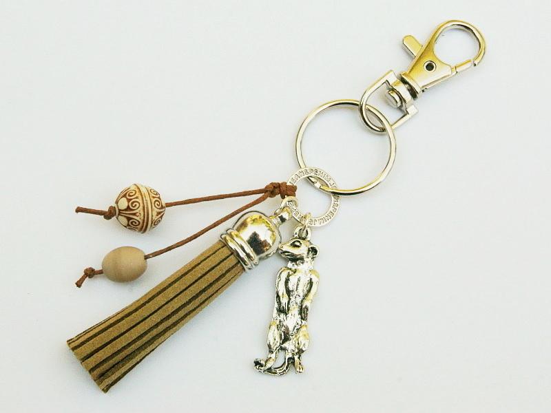 Kleinesbild - Schlüsselanhänger Erdmännchen Taschenanhänger Quaste braun Kettenanhänger