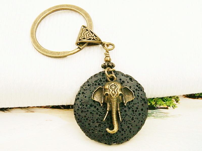 - Schlüsselanhänger Elefant Lava schwarz bronzefarben  - Schlüsselanhänger Elefant Lava schwarz bronzefarben
