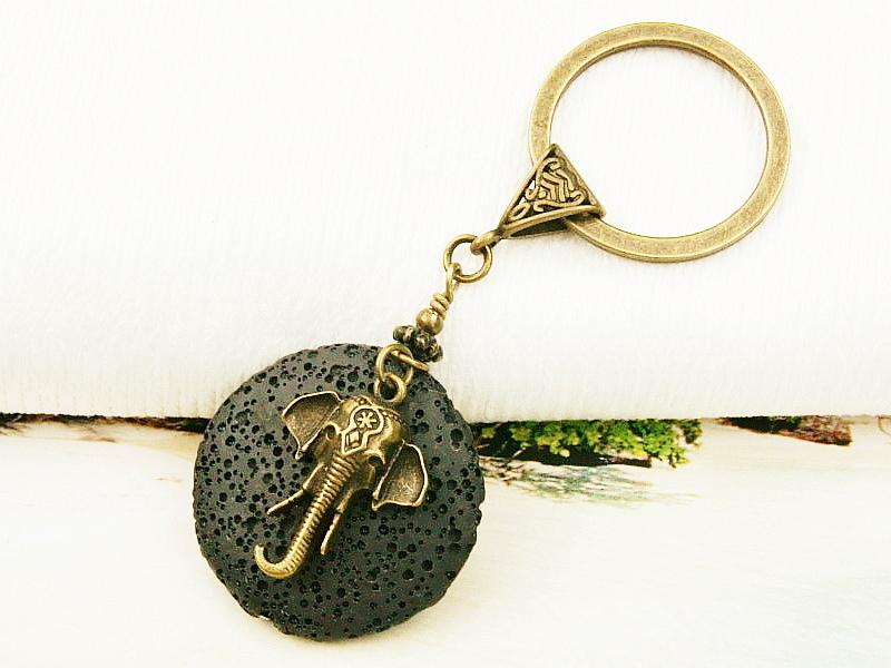 Kleinesbild - Schlüsselanhänger Elefant Lava schwarz bronzefarben