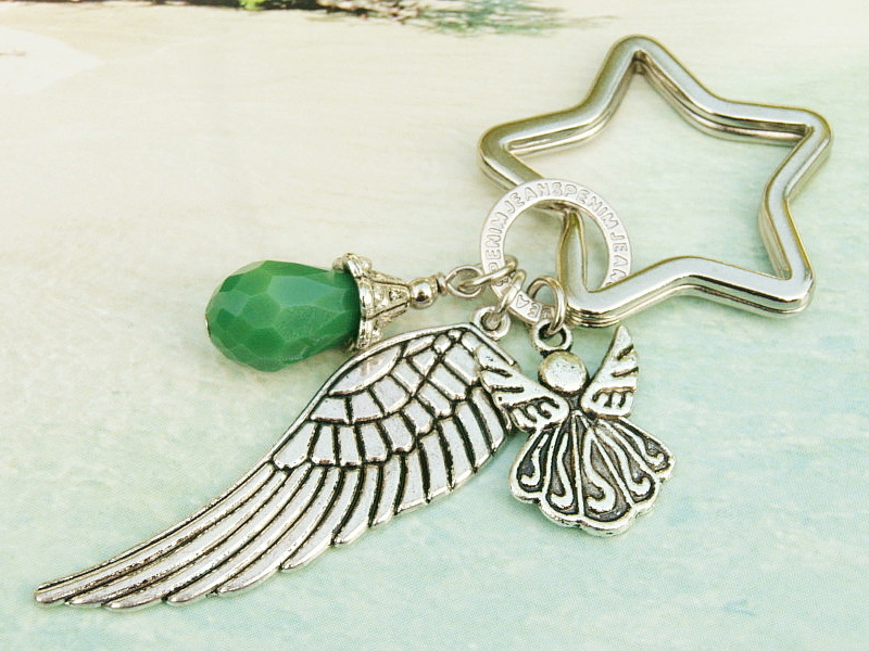 - Schlüsselanhänger Taschenanhänger Glücksbringer Engel Flügel Tropfen grün - Schlüsselanhänger Taschenanhänger Glücksbringer Engel Flügel Tropfen grün