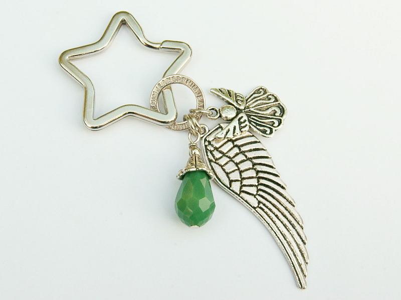 Kleinesbild - Schlüsselanhänger Taschenanhänger Glücksbringer Engel Flügel Tropfen grün