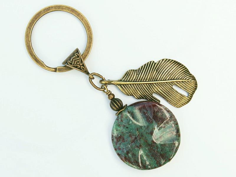 Kleinesbild - Schlüsselanhänger Feder bronzefarben Edelstein Jaspis blau grün