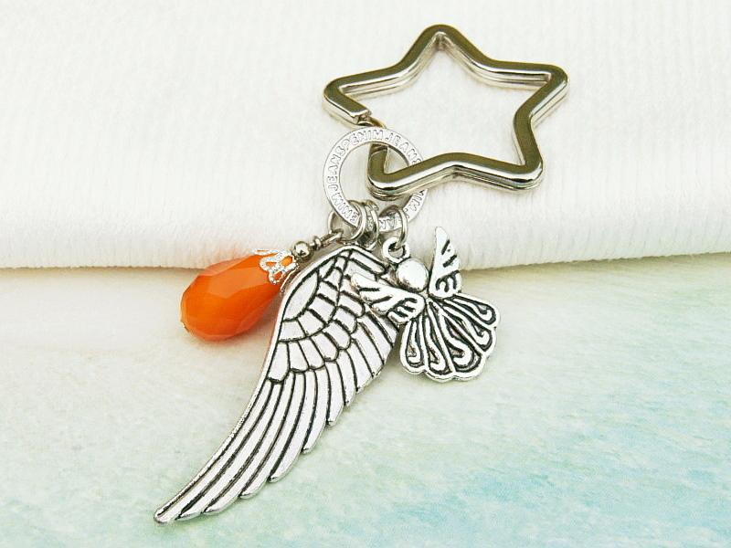 Kleinesbild - Schlüsselanhänger Taschenanhänger Glücksbringer Engel Flügel Tropfen orange