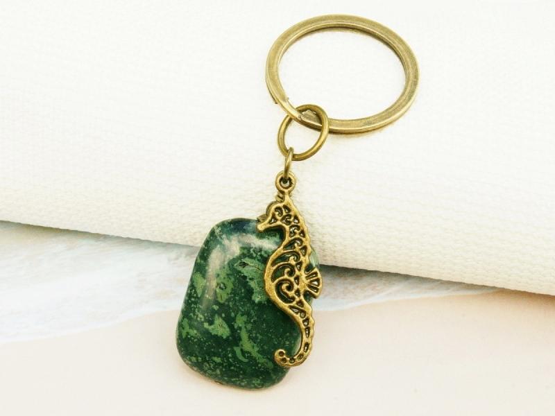 - Schlüsselanhänger Seepferd Edelstein Jaspis grün bronzefarben  - Schlüsselanhänger Seepferd Edelstein Jaspis grün bronzefarben