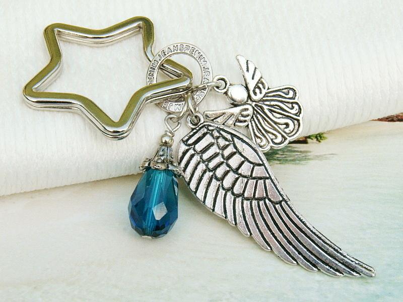 Kleinesbild - Schlüsselanhänger Taschenanhänger Glücksbringer Engel Flügel Tropfen petrolblau