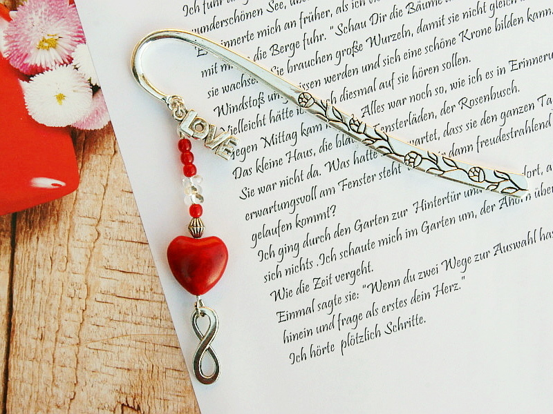 - Lesezeichen groß Metall Herz Love Infinity Geschenk zum Valentinstag rot  - Lesezeichen groß Metall Herz Love Infinity Geschenk zum Valentinstag rot