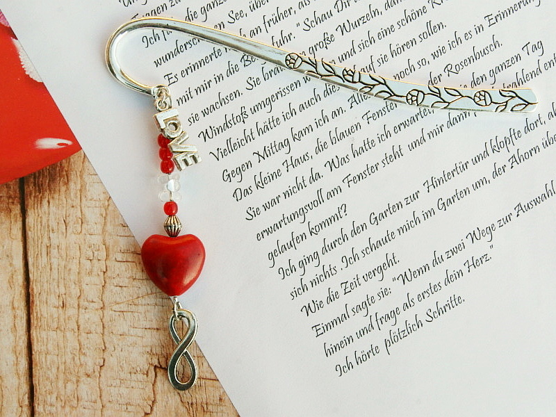 Kleinesbild - Lesezeichen groß Metall Herz Love Infinity Geschenk zum Valentinstag rot