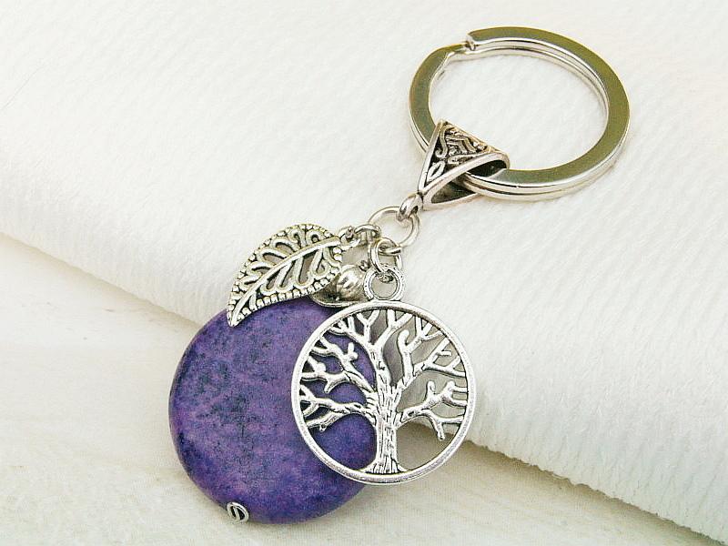 Kleinesbild - Schlüsselanhänger Baum Lebensbaum Jade violett Edelstein Glücksbringer