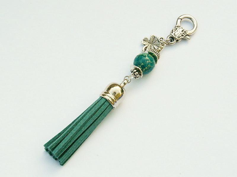 Kleinesbild - Schlüsselanhänger Taschenanhänger Glücksbringer Klee Quaste blaugrün Edelstein Jaspis Kettenanhänger