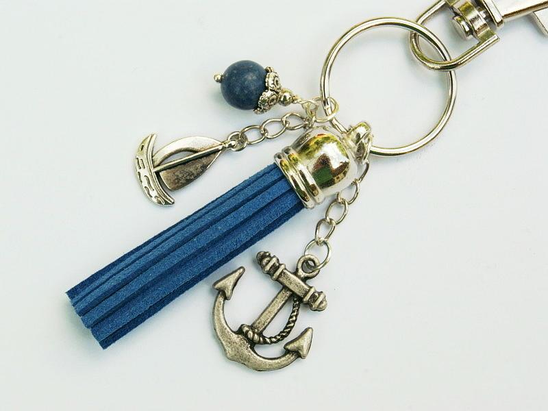 - Schlüsselanhänger Taschenanhänger Anker Schiff Segelboot Quaste blau Schaumkoralle maritim - Schlüsselanhänger Taschenanhänger Anker Schiff Segelboot Quaste blau Schaumkoralle maritim