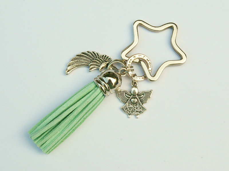 - Schlüsselanhänger Taschenanhänger Glücksbringer Engel Flügel Engelsflügel Quaste grün - Schlüsselanhänger Taschenanhänger Glücksbringer Engel Flügel Engelsflügel Quaste grün