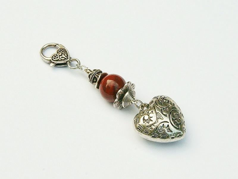 Kleinesbild - Anhänger Herz Edelstein Jaspis Kettenanhänger Schlüsselanhänger Taschenanhänger