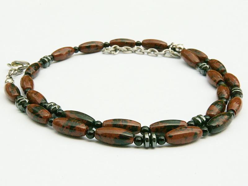 Kleinesbild - Halskette Mahagonieobsidian rotbraun schwarz Onyx und Hämatit für Frauen und Männer