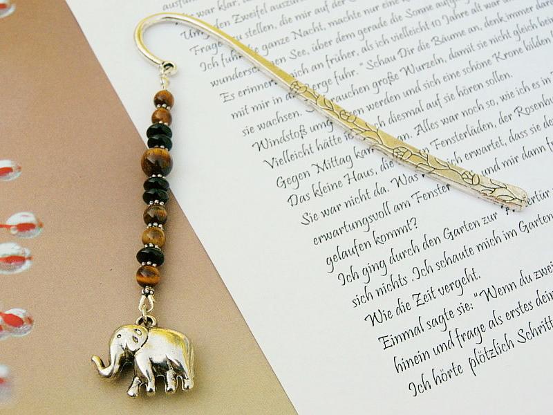 - Lesezeichen groß Metall Elefant Edelstein Tigerauge Afrika - Lesezeichen groß Metall Elefant Edelstein Tigerauge Afrika