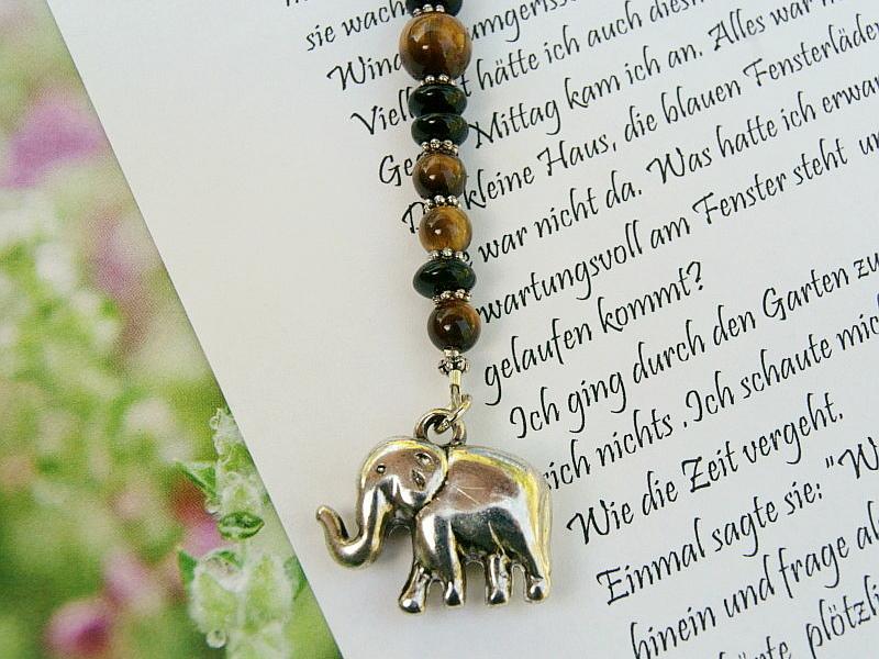 Kleinesbild - Lesezeichen groß Metall Elefant Edelstein Tigerauge Afrika