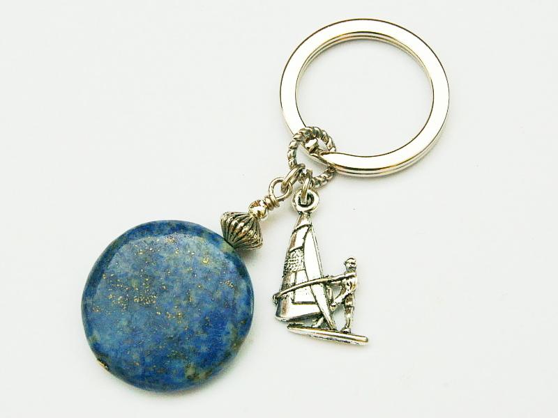 - Schlüsselanhänger maritim Surfer Lapislazuli Edelstein blau - Schlüsselanhänger maritim Surfer Lapislazuli Edelstein blau