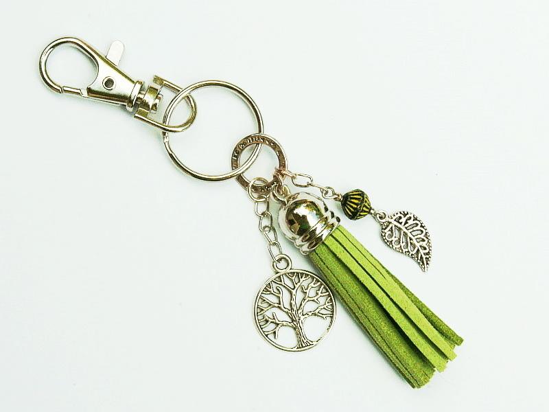 - Schlüsselanhänger Taschenanhänger Baum Lebensbaum Glücksbringer Quaste grün - Schlüsselanhänger Taschenanhänger Baum Lebensbaum Glücksbringer Quaste grün
