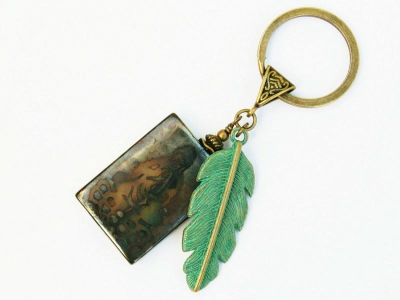 Kleinesbild - Schlüsselanhänger Buddha Feder grün Achat Edelstein