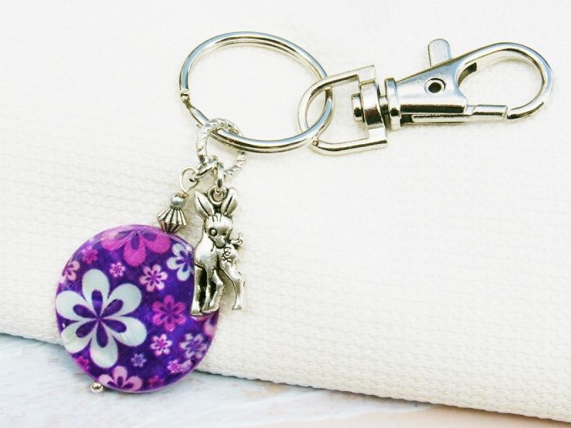 - Schlüsselanhänger Rehkitz bunte Perlmutt Scheibe mit Blumen Taschenanhänger  - Schlüsselanhänger Rehkitz bunte Perlmutt Scheibe mit Blumen Taschenanhänger