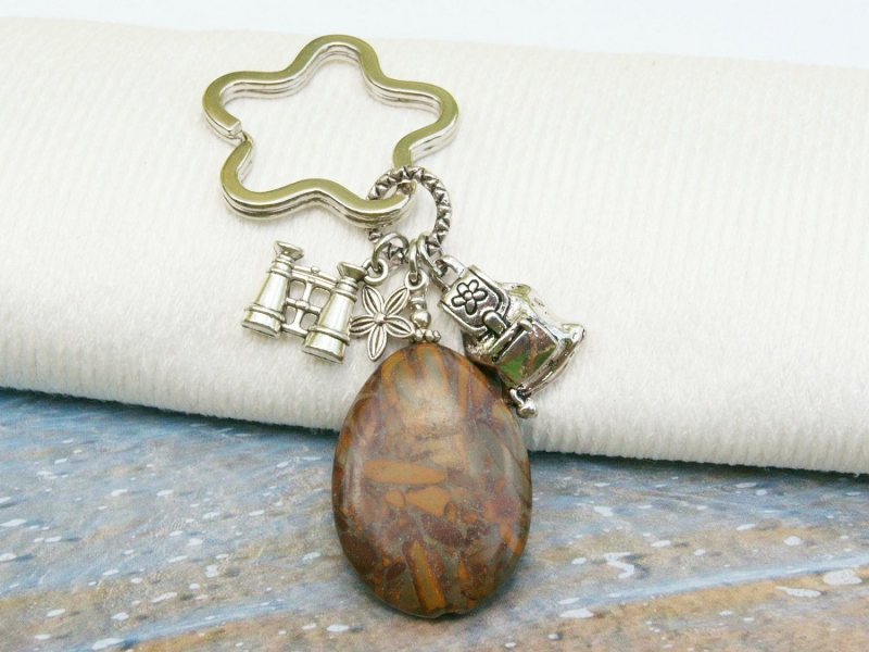 - Schlüsselanhänger wandern Rucksack Fernglas brauner Jaspistropfen - Schlüsselanhänger wandern Rucksack Fernglas brauner Jaspistropfen