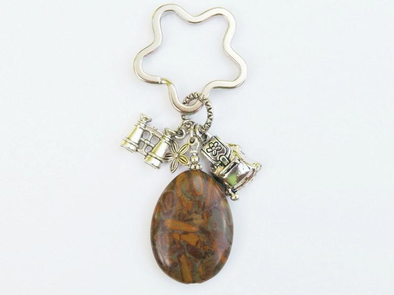 Kleinesbild - Schlüsselanhänger wandern Rucksack Fernglas brauner Jaspistropfen
