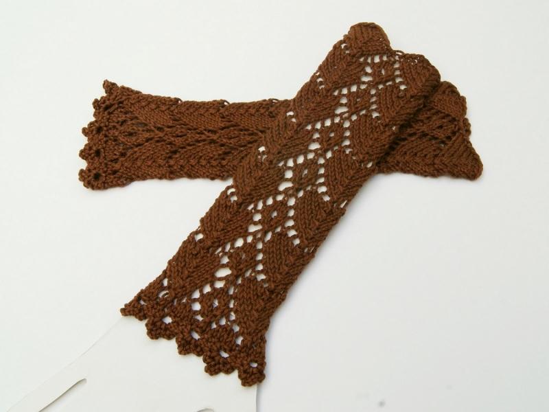 Kleinesbild - Armstulpen braun  Baumwolle handgestrickt Lochmuster filigran