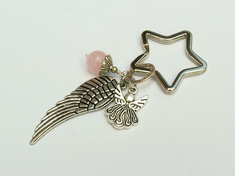 Kleinesbild - Schlüsselanhänger Glücksbringer Engel Flügel Rosenquarz