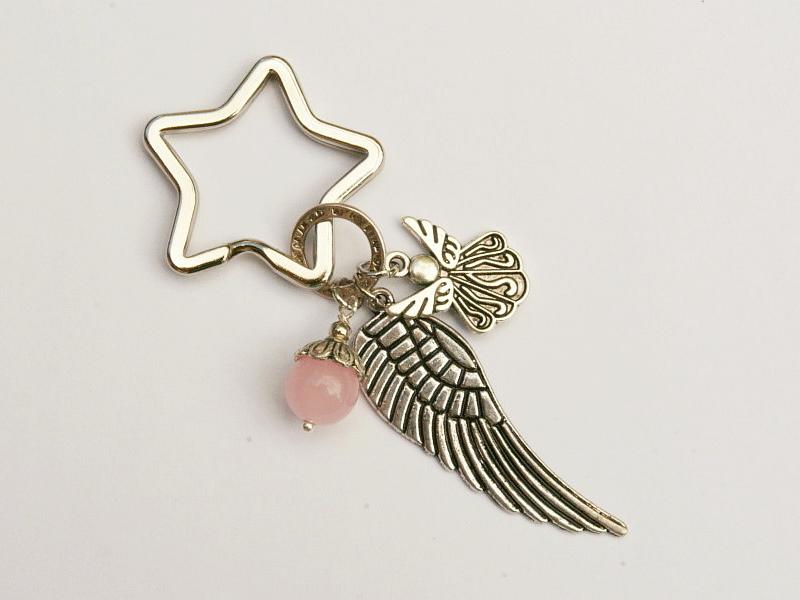 - Schlüsselanhänger Glücksbringer Engel Flügel Rosenquarz - Schlüsselanhänger Glücksbringer Engel Flügel Rosenquarz
