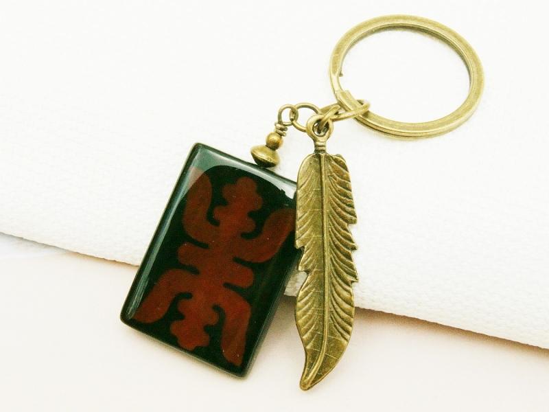 Kleinesbild - Schlüsselanhänger Feder bronzefarben Achat Edelstein Ethno Motiv