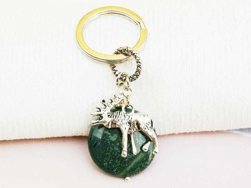 Kleinesbild - Schlüsselanhänger Elch Skandinavien Jaspis grün Edelstein