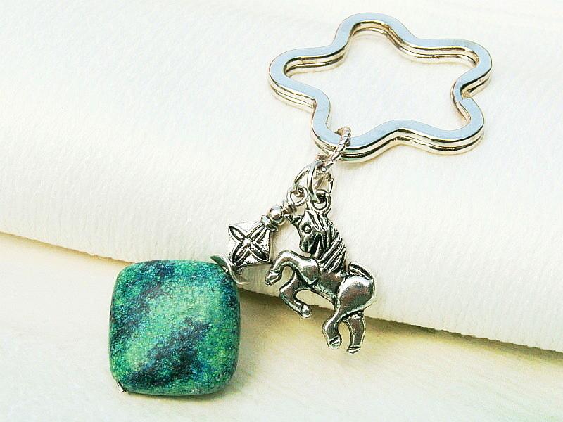 Kleinesbild - Schlüsselanhänger Einhorn Chrysokoll Edelstein türkis grün blau