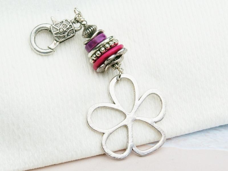 Kleinesbild - Anhänger große Blume Edelstein Sugilith Jaspis Kettenanhänger Schlüsselanhänger Taschenanhänger