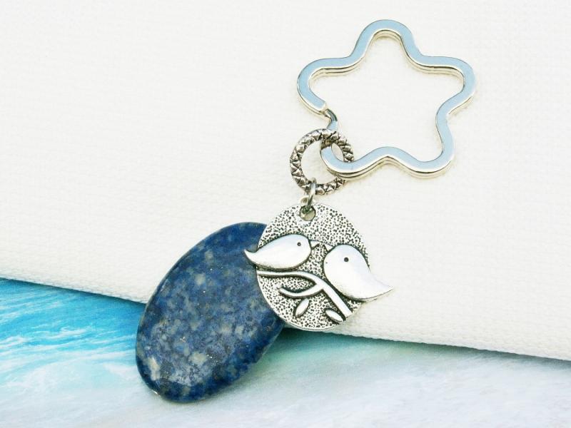 Kleinesbild - Schlüsselanhänger Vögel auf Ast Lapislazuli blau