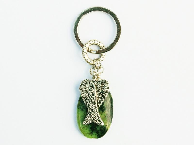Kleinesbild - Schlüsselanhänger Flügel Engelsflügel Glücksbringer Jaspis grün Edelstein