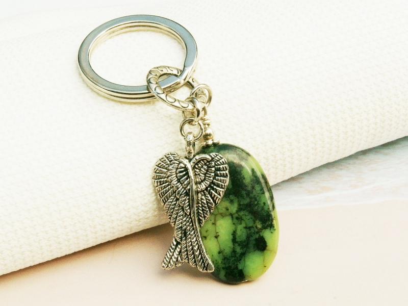 - Schlüsselanhänger Flügel Engelsflügel Glücksbringer Jaspis grün Edelstein  - Schlüsselanhänger Flügel Engelsflügel Glücksbringer Jaspis grün Edelstein