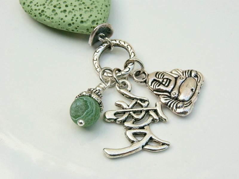 Kleinesbild - Anhänger Buddha Liebe Lava Herz grün Achat Edelstein Kettenanhänger Schlüsselanhänger Taschenanhänger