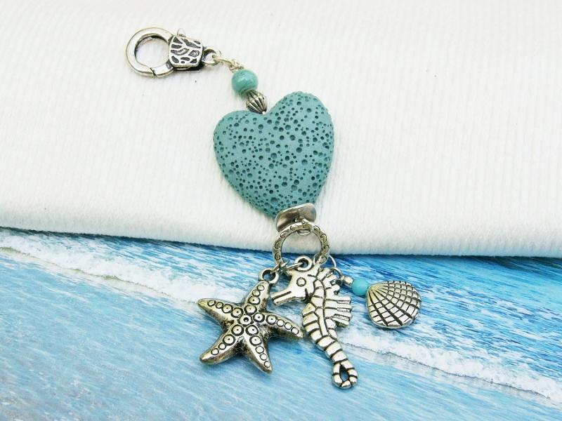 Kleinesbild - Anhänger Seepferd Muschel Seestern Lava Herz türkis Kettenanhänger Schlüsselanhänger Taschenanhänger