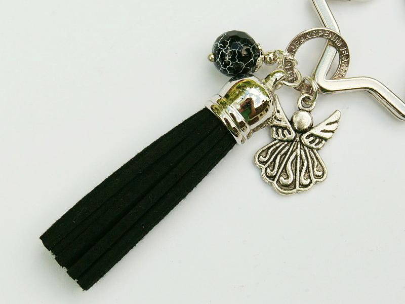 Kleinesbild - Schlüsselanhänger Taschenanhänger Glücksbringer Engel Flügel Engelsflügel Quaste schwarz Edelstein
