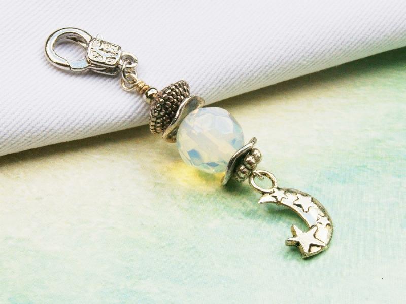 Kleinesbild - Anhänger Mond mit Sternen Mondstein Kettenanhänger Schlüsselanhänger Taschenanhänger