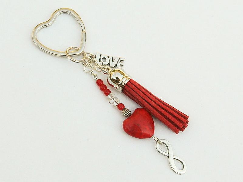 Kleinesbild - Schlüsselanhänger Herz rote Quaste Infinity Love